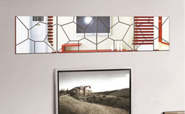 Wholesale Decorative Wall Decals Removable - Geometric pattern acrylic mirror decorative mirror the living room wall art decals corridor   new 2016 European and American fashion