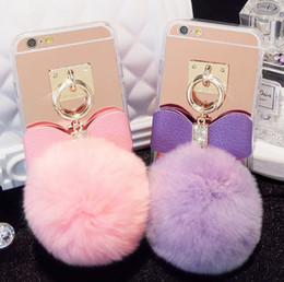 Wholesale Iphone Case Rabbit Mirror - 3D Soft Plush Rabbit Tail Plush Fluffy Stuffed Toys Fur Tail with Rope with Rhinestone Clear TPU Mirror Pom Phone Case for iPhone 6s 6plus