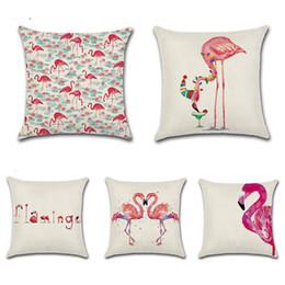 Wholesale Christmas Decorative Throw Pillows - Christmas Flamingo Printed pillow case cover Square Cotton Linen Cushion Cover Decorative Sofa Pillowcase Throw Pillow Cover