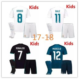 Wholesale Youth Ronaldo Jerseys - 2017 2018 Real Madrid kids home away third soccer jersey kits youth boys child jerseys kits 1718 RONALDO BALE ISCO MODRIC football shirts