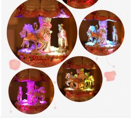 Wholesale Girls Musical Box - Arts Creative Carousel Music Box with LED Flashing Light Musical Boxes Children Girl Friend Valentine's Day Christmas Gift