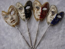 mask handles Coupons - New hand held high mask cosplay venice Italy fancy dress party full face handle male mask