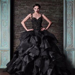 Wholesale Puffy Ruffled Skirt - Rami Kadi Black Ball Gown Wedding Dresses Spaghetti Straps Vintage Lace Ruffles Satin Puffy 2017 Gothic Bridal Formal Dress Wedding Gowns