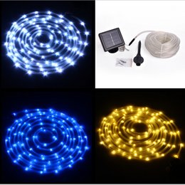 Wholesale Indoor Led Neon Lights - 12M 100 LED Led Solar Rope Light String Light Neon Rope Tube Light Square Solar Panel Lamps Solar Strings