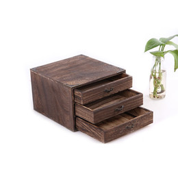 Wholesale Wooden Storage Drawers - 3 Layers Classic Solid Wooden Teaboard Drawer Tea Board Pu'er Tea Box Storage Cabinet Tea Accessories ZA4707