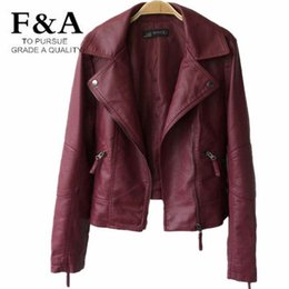 Wholesale Red Leather Biker Jacket Women - Wholesale- New Arrival Black Red Wide Lapel Short PU Leather Biker Jackets Autumn Outerwear Women Zipper Faux Leather Casual Winter Coat