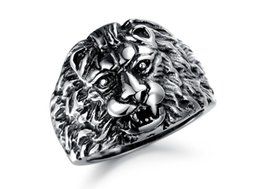 Wholesale Man Steel Cast - Style restoring ancient ways Casting the wind lion Man Titanium steel Ring Personality domineering rings Fashion Charms jewelry Wholesale