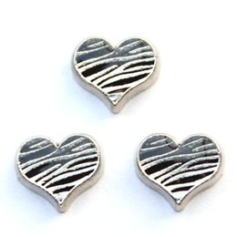 Wholesale Zebra Love - zebra texture in heart charms, floating charms for living locket, 20pcs lot, free shipping--98