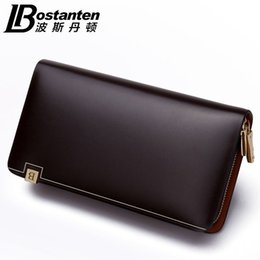 Wholesale Large Cowhide Purse - BOSTANTEN New Men's Fashion 100% Cowhide Genuine Leather Casual Zipper Large Capacity Phone Wallet Hand Bags Clutch Purse