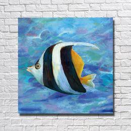 Pinturas a óleo originais modernas on-line-Top qualidade barato pinturas modernas pintados à mão pintura de peixe arte mar peixe Original Design Pintura A Óleo Abstrata