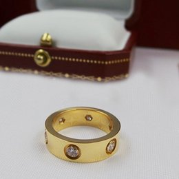 Wholesale Valentine Engagement - top 316L titanium steel rose gold rings 6MM and gold rings fashion jewelry lover Valentine gift for women couple ring