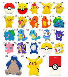Wholesale Gift Suitcases - Cartoon Luggage Tags Fashion Suitcase Tag Pikachu Silicone Luggage Tags Cartoon ID Address Baggage Tags Christmas Gift 200 desgigns D706