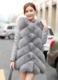 Wholesale grey fox fur coats - Top sales elevated Women's Fox fur Patchwork Leather jacket lady luxurious Grey warm outwear snowsuit coats plus size S~2XL