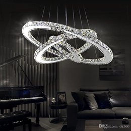 Wholesale Diamond Ring Ceiling Lights - Modern LED Crystal Chandeliers Pendant Lights Ceiling Hanging Lighting Fixtures with AC110-240V LED SMD Round Ring Diamond CE FCC ROHS