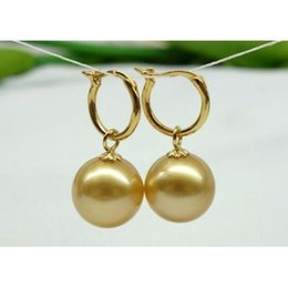 Wholesale Huge Golden South Sea Pearls - HUGE 16 MM AAA+++ NATURAL SOUTH SEA GOLDEN SHELL PEARL EARRING 14K GOLD CLASP