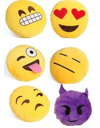 Wholesale Red Bolster Pillow - 2016 Styles Diameter 32cm Cushion Cute Lovely Emoji Smiley Pillows Cartoon Cushion Pillows Yellow Round Pillow bolster Stuffed Plush Toy