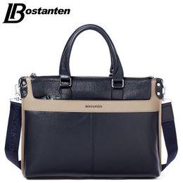 Wholesale Bostanten Briefcase - Wholesale- Bostanten 2017 New Cow Genuine Leather Briefcase Business Shoulder Bag Men Messenger Bags Fashion Patchwork Computer Laptop Bags
