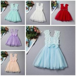 Wholesale Girls Crochet Lace Vests - Summer Baby Girls Lace Dress Kids Sundress Gauze Jumper Skirt Europe American Children Crochet Vest Dress 6 style