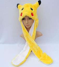 Wholesale Kids Hat Mittens Wholesale - Pikachu Cartoon Plush Animal Full Hood Kids Hat Women Children Costume Beanie with Long Scarf Mittens Gloves Earmuffs Christmas Gift