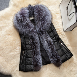 Wholesale Shawl Collar For Woman - Fashion Faux Fur Shawl Collar Vest Jacket For Women Sleeveless Zipper Pocket Quilited Warm Coats Slim Winter Leather Jackets CJF0905