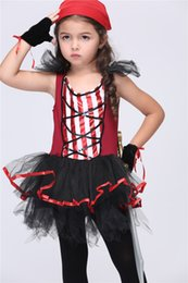 Wholesale Caribbean Performance Costumes - Halloween Children Pirates of the Caribbean Queen Cosplay Costume Dress Clothes Child's Pirate King Costume Performance Clothing