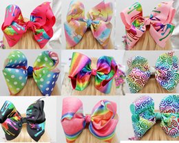 Wholesale Rainbow Dance - HOT 12 style available ! sparkling 8inch jojo Metalic Foil Rainbow Holographic hair Bow with clip Cheerleading Dance for teens girls 20pcs