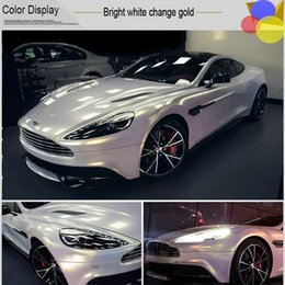 Wholesale Gloss White Wrap - White Glossy Metallic Vinyl Wrap Car Wrapping Film With Air channel Gloss White Pearl chameleon Size:1.52*20M Roll (5ft * 65ft)