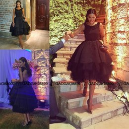 Wholesale Strapless Open Side Prom Dresses - 2016 Black Short Homecoming Dress with Lace Appliques Sequins Open Back Short Black tiered skirt arabic Prom graduation Dress