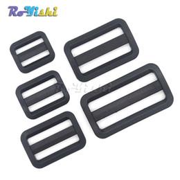 Wholesale Curved Black Buckles - 100pcs lot Plastic Black Curve Tri-Glide Slider Adjustable Buckle for Bags Webbing