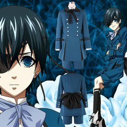Wholesale Ciel Phantomhive Full Cosplay Black - Wholesale-free shipping HJcosplay Black Butler Kuroshitsuji Ciel Phantomhive Blue Boy Lolita Suit women men Cosplay Costume full Sets