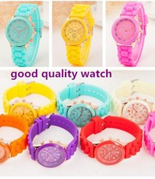 Wholesale Womens Jelly Silicone Watches Wholesale - 2017 New popular Fashion geneva silicone rubber jelly candy watches unisex mens womens ladies colorful rose-gold dress quartz watches