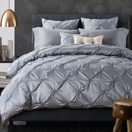 Wholesale Twin Size Ruffle Bedding - Wholesale- Luxurious Silk Bedding Set European Ruffle Bed Linen Sets King Queen Size Bedspread Gray Duvet Cover Wedding Bed Set