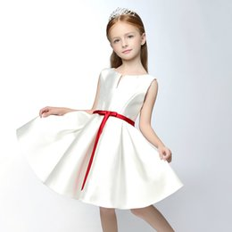 Wholesale Simple New Dress For Girls - SSYFashion 2017 New Simple Satin Flower Girl Dresses for Wedding Short Sleeveless A-line Kids Children's Party Graduation Gowns