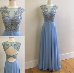 Wholesale delicate lace evening dress - Lavender Chiffon Long Prom Dresses Sheer Neck Cap Sleeves Delicate Beading Floor Length Cutaway Side Backless Evening Dresses Formal Gowns
