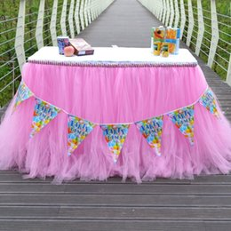 botín de mesa de bodas de oro Rebajas Nueva boda Tulle Tutu Falda de mesa Colores Cumpleaños Postre Estación Falda Baby Showers Fiesta Decoración de mesa para boda 90 * 80 CM wn330202