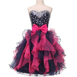 Wholesale Sweetheart Colorful Prom - Knee Length Short Homecoming Dress 2016 Cocktail Party Ball Gown Colorful Beaded Organza Ruffle Backless Sexy Prom Dress With Bow