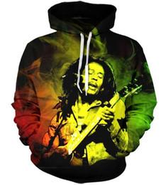 2019 bob marley tops Neue Mode Paare Männer Frauen Unisex Bob Marley 3D Print Hoodies Pullover Sweatshirt Jacke Pullover Top T76 günstig bob marley tops