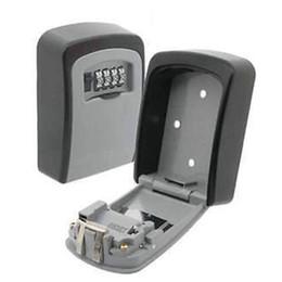 Llave de pared online-Caja de almacenamiento clave Dígito Soporte de pared Cerradura de combinación Cuatro llaves de contraseña Caja de seguridad Material de aleación de aluminio Cajas de organizador de seguridad