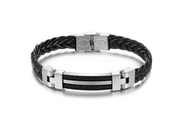 Wholesale Titanium Braid Bracelet - Wholesale Titanium Braided Bracelets High Quality Black Leather With Stainless Steel Bangles Bracelets Fashion Men Jewelry Attractive Design