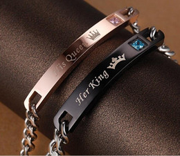 Wholesale Queen Piece - 1 Pair Stainless Steel His Queen Her King Bracelet Matching Set Titanium Wristband Couple Bracelet 2 Pieces