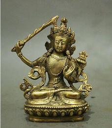 Wholesale Buddha Brass Statue - Folk Chinese Tibet Brass Buddhism Manjushri Buddha Kwan-yin Bodhisattva Statue