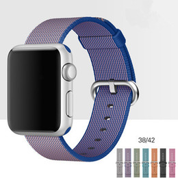 Wholesale Purple Metal Watch - Woven Nylon Band For Apple Watch Band Wrist Bracelet Strap Watchband Metal Classic Buckle With Adapters DHL Free OTH212
