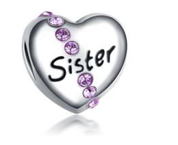 Wholesale Big Sister Silver Charm - 10pcs Silver Bead Fit Pandora Bracelets Sister Hearts Big Hole Enamel Beads Charms For Wholesale Diy European Necklace Jewelry