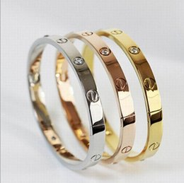Wholesale China Gold Bangles - Brand Bangle Bracelet Non-fading 3 Colors Plating New Trendy Design Stainless Steel With CZ Stones (VG-011) Vocheng Jewelry