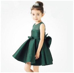 Wholesale Wholesale Evening Gowns Free Shipping - DHL free shipping 2016 bridesmaid Flower girl party dress zipper big bow children kids dress princess evening dress piano suits costumes new