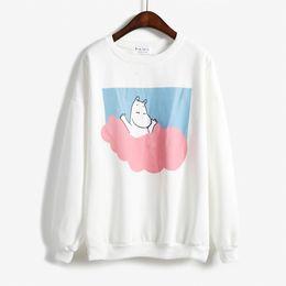 Wholesale Super Cute Korean - Wholesale- 2017 Winter casual hoodies Korean Harajuku super cute Japanese cartoon pink hippo hedging round neck cashmere sweatshirts woman
