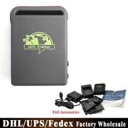 Wholesale Gps Gprs Tracker Battery - DHL Fedex 20pcs lot 100% Guaranteed GSM GPRS Quad Band TK102B TK102+ GPS Tracker+Power Charger+Battery+USB Cable