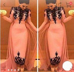 Wholesale Dresses Occasional - Elegant High Neck Black Lace Appliques Evening Dresses Dubai Middle East Formal Party Gowns Ankle Length Sheath Special Occasional Dress