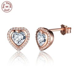 Wholesale Solid Gold Heart - Wholesale Solid 925 Sterling Silver Earring Ear Stud 18K Gold Plated Heart Glitter Clear Zircon For Beauty Woman Fashion Luxury Jewelry E473