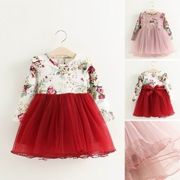 Wholesale Wholesale Sashes - 2016 Autumn New Girl Dress Floral Flare Sleeve Fluffy Dress Children Clothing 504779